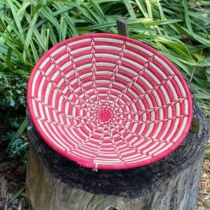 "Coil Woven Basket Large 16"" or Wall Art Red"